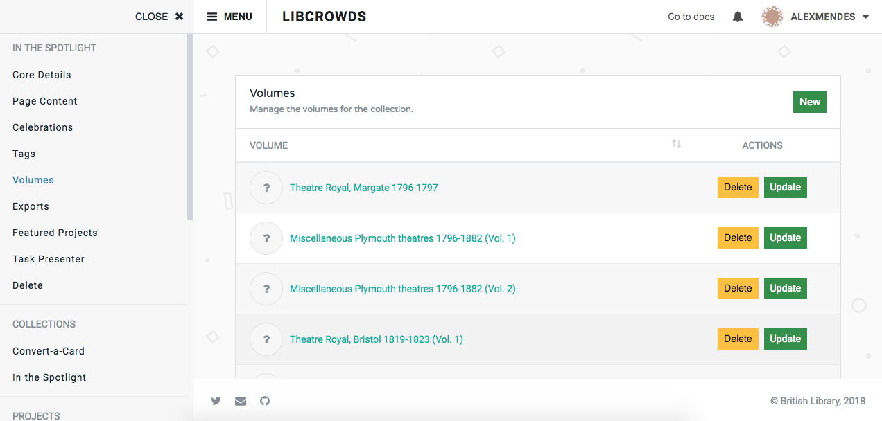 A screenshot of a collection's volumes admin page